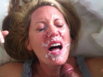 Big facial for this cuckolding MILF