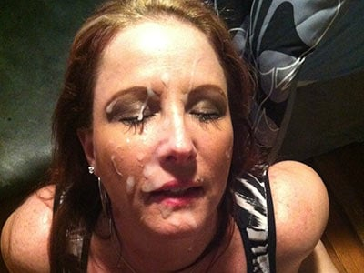 Big facial cumshot for this submissive MILF