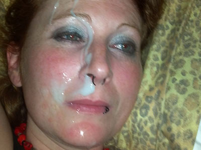 Big facial for a drunk MILF in heavy makeup