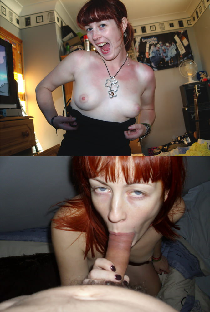 Redhead wife clothed-unclothed blowjobs