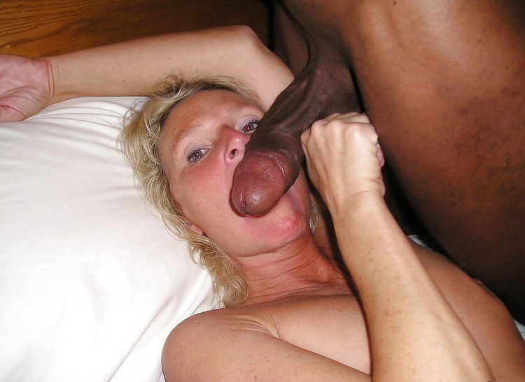 Interracial blowjob from a tired mature wife