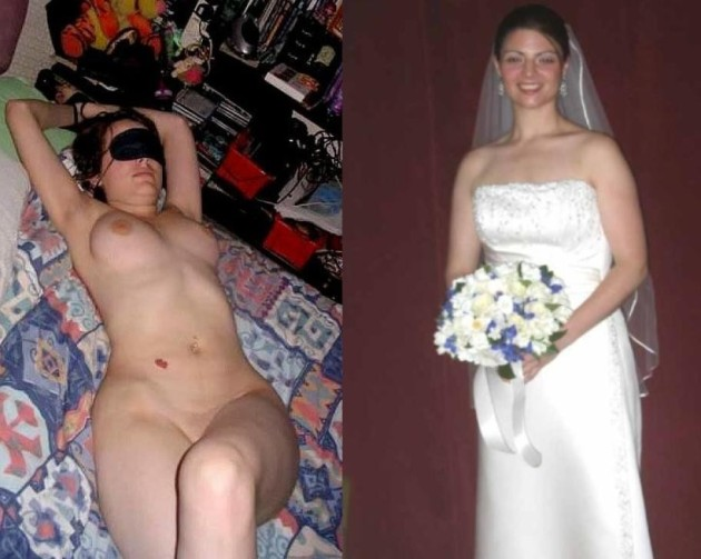 Clothed-unclothed pics of a real amateur bride