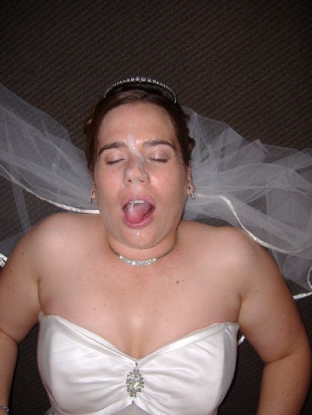 Big facial on her wedding night