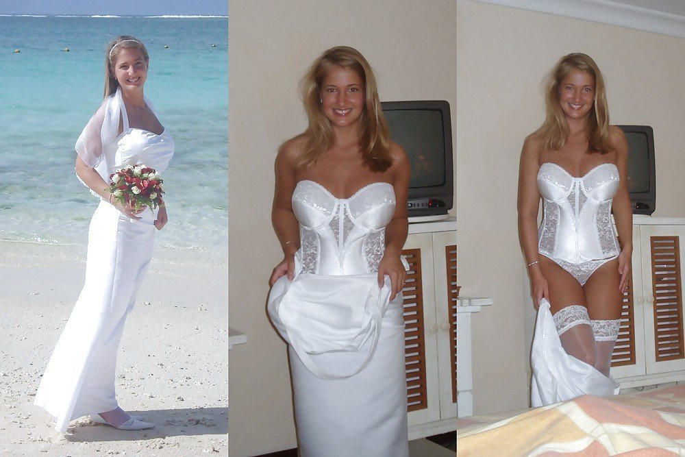 Nude amateur bride dressed and undressed