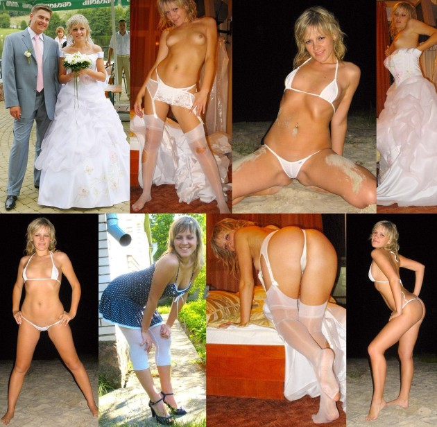 Before-after nudes of a hot blonde bride