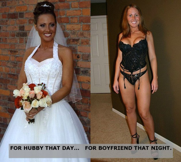 Before-after nude pic of a real bride