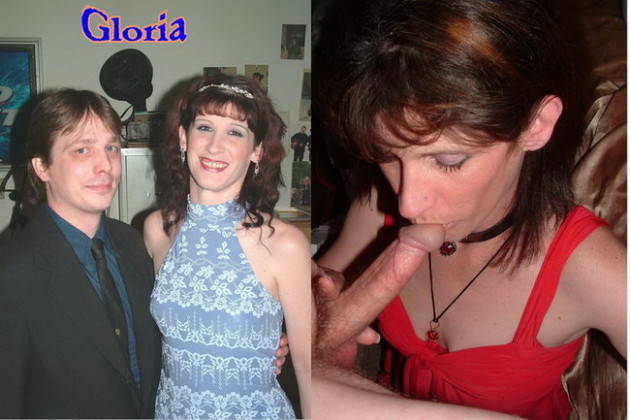 Before-after blowjob pic of a hot wife over 40