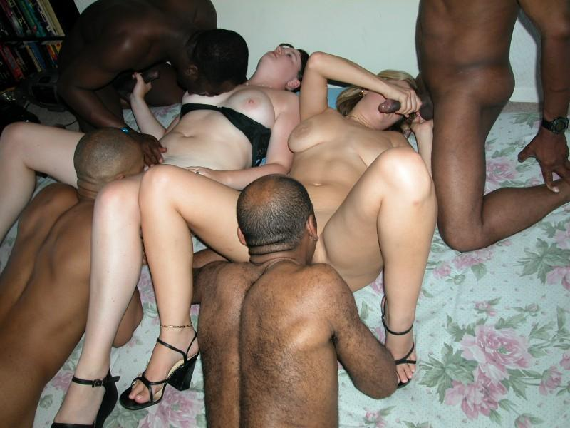 White and black orgy