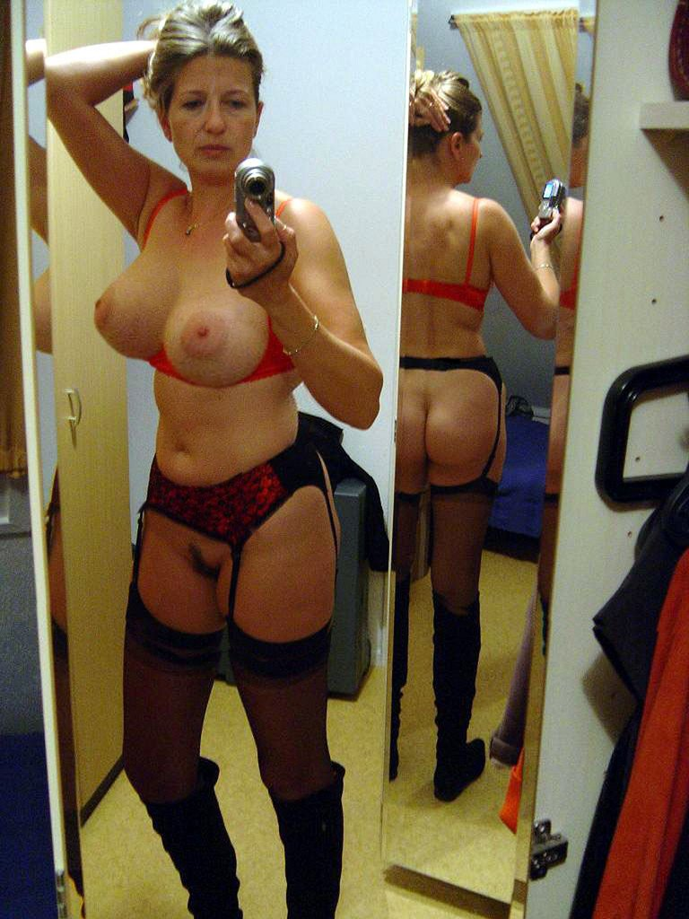 mature big boob selfies - Just look at her big boobs, trimmed pussy, and hot lingerie. If I look like  that at her age, I'd also submit my nude selfies ...