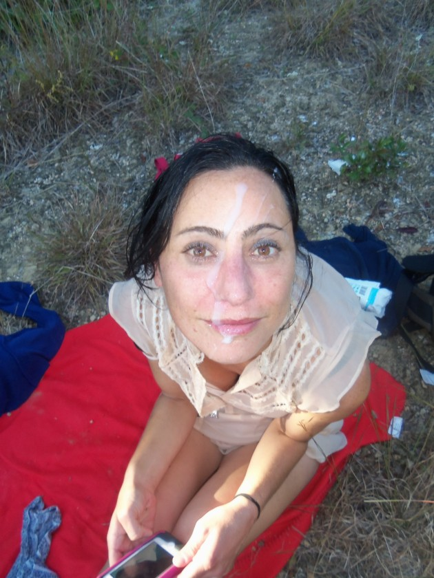 Older amateur wife outdoor facial cumshot