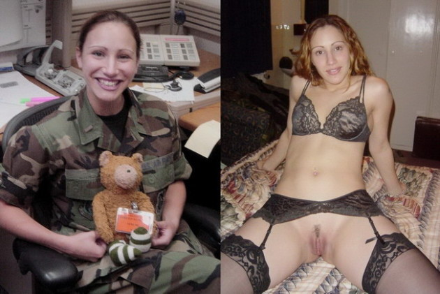 Dressed-undressed pic of a real Army girl