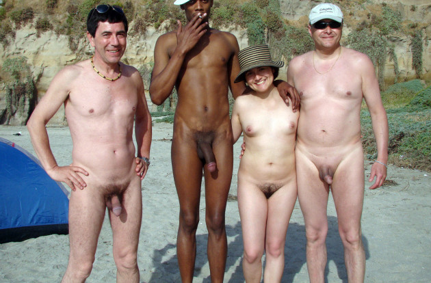 Before the gangbang on the nudist beach