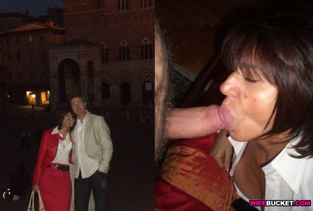 Mature slut before-and-after blowjob pic