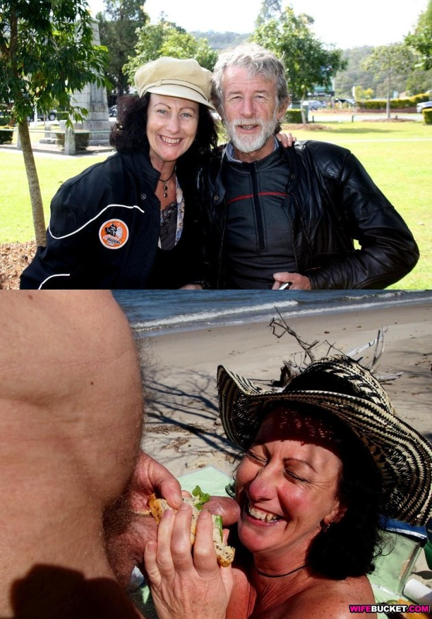 Before-after blowjob pic from a funny mature couple