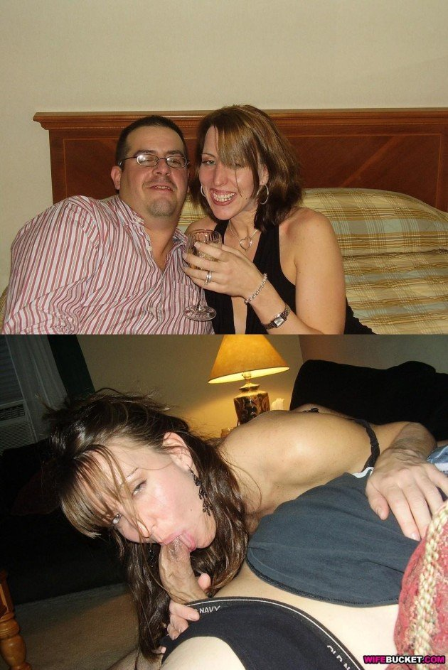 Drunk wife before-and-after blowjob pic