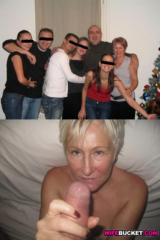 Mature housewife before-after blowjob photo
