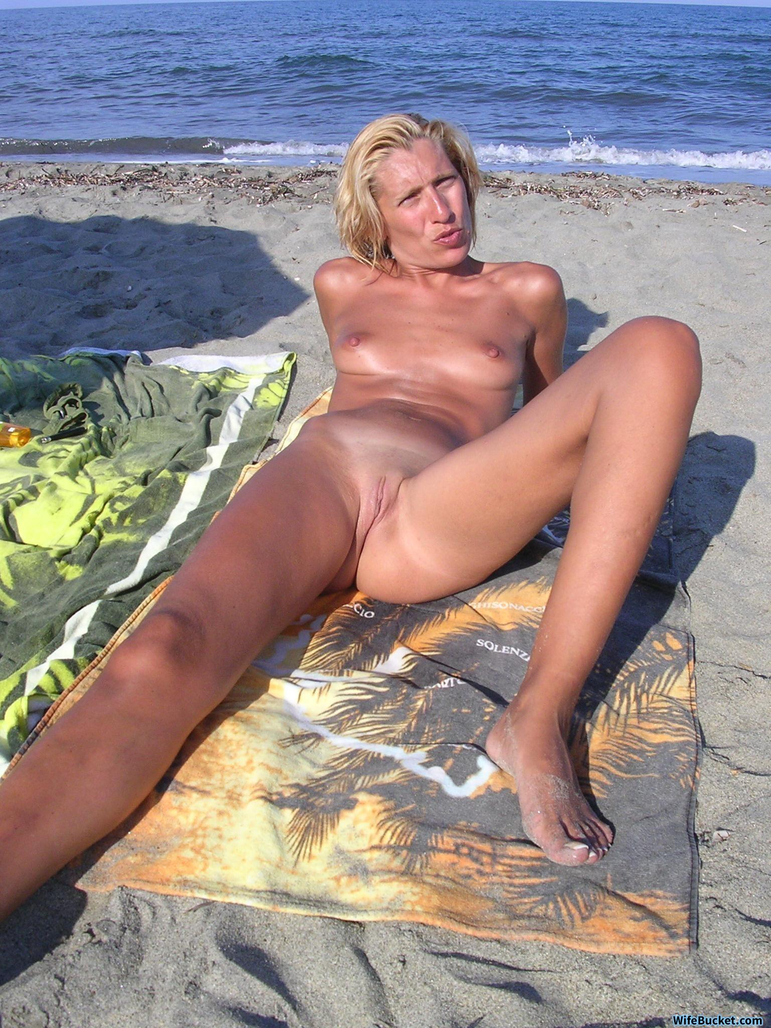 beach pics Nude slut wife caption