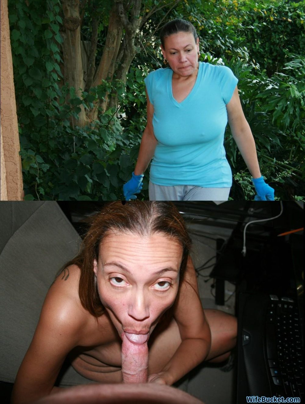 Hot MILF before and after sucking cock