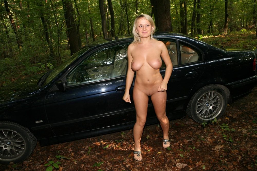 Shy wife naked outdoor