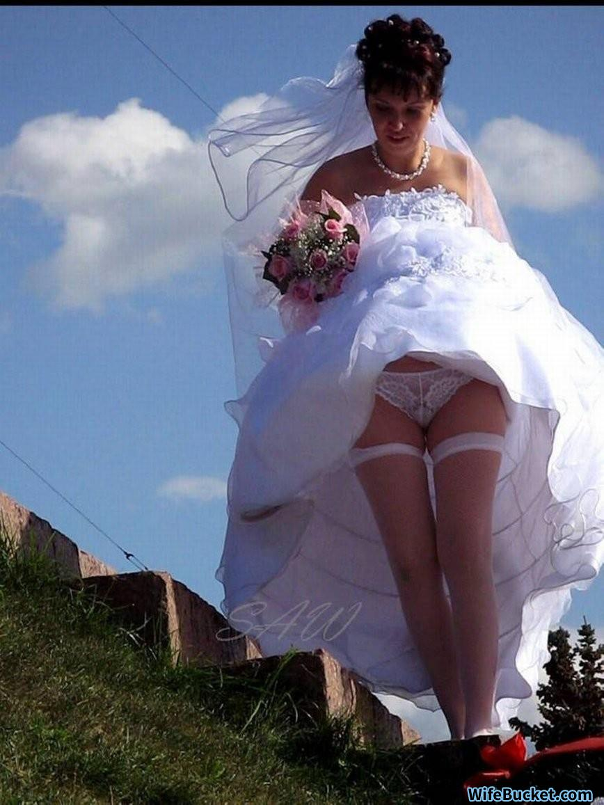 Real bride flashing pussy