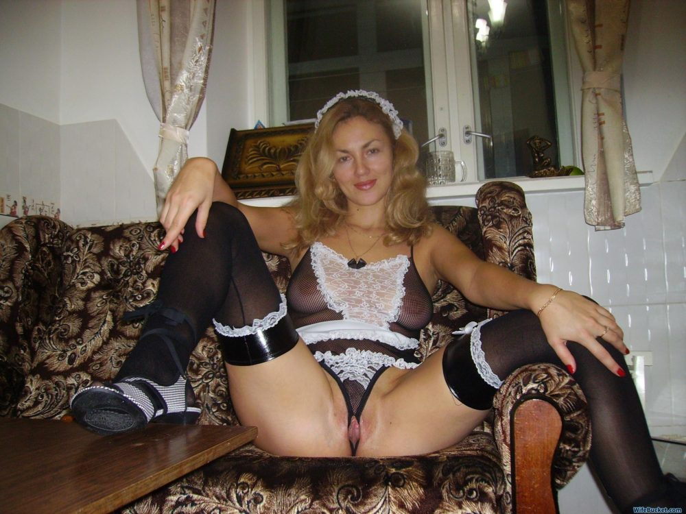 Hot wife in French-maid outfit
