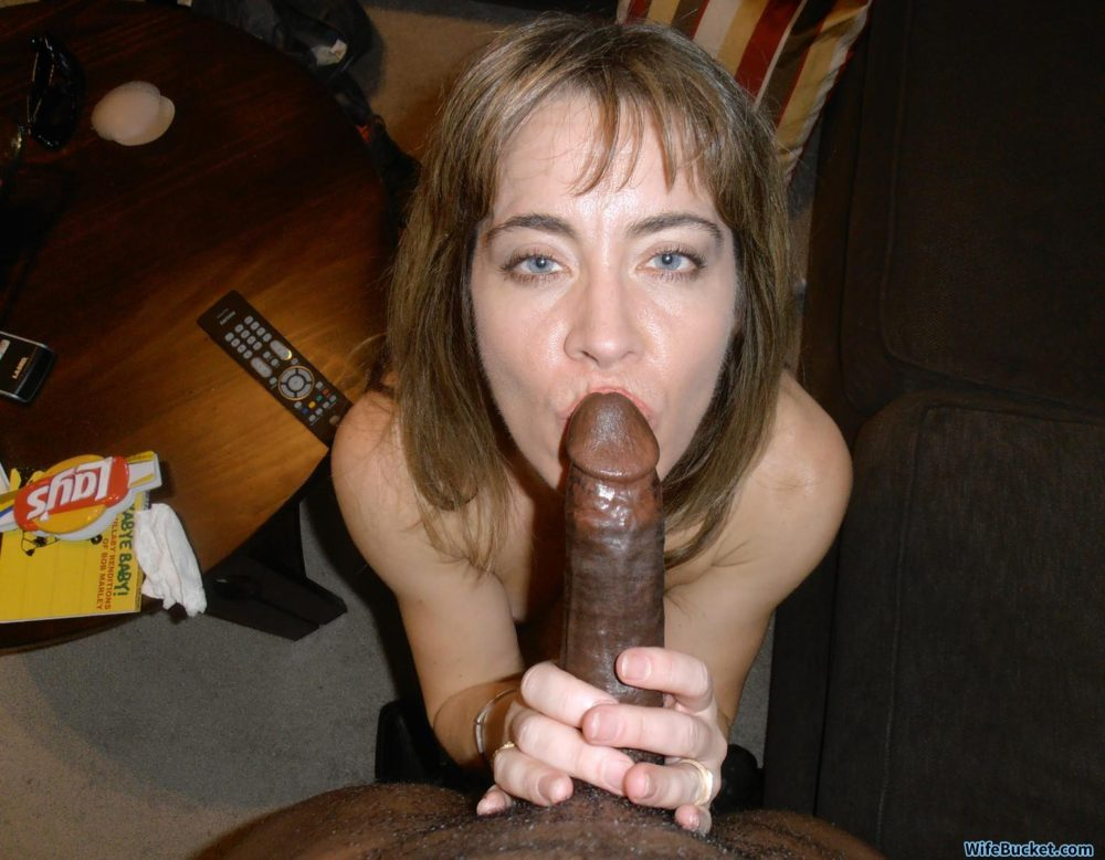 White wife BBC blowjob