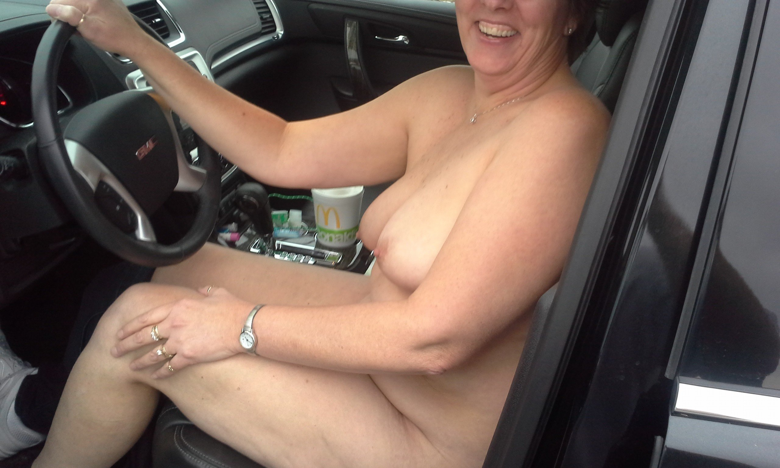 Real wife driving nude