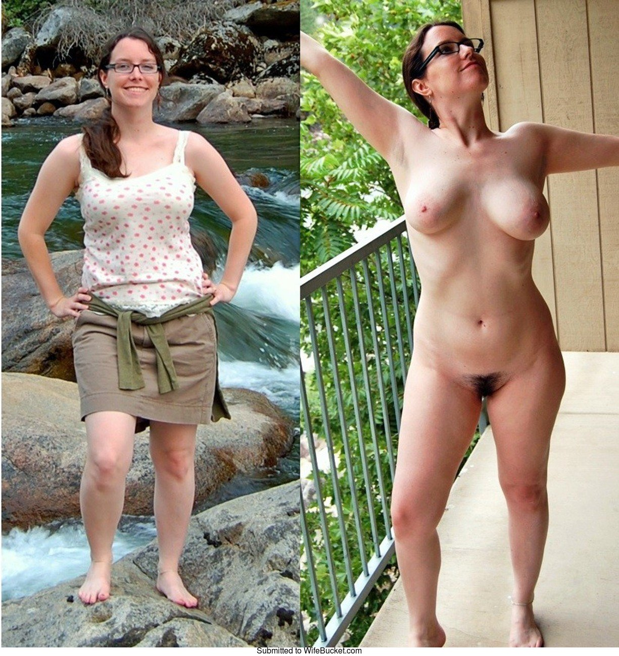 before naked wife Milf after clothed