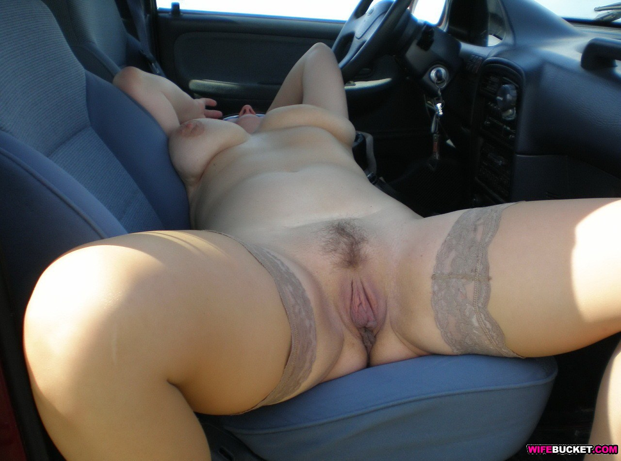 All Wife naked in car