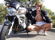 Biker MILF squats for Wife Bucket