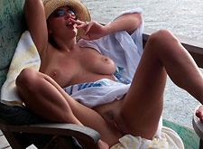 MILF Relaxes Fully Nude on Boat