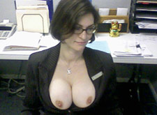 MILF in her husbands home office