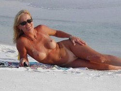 Mature wife at beach nude