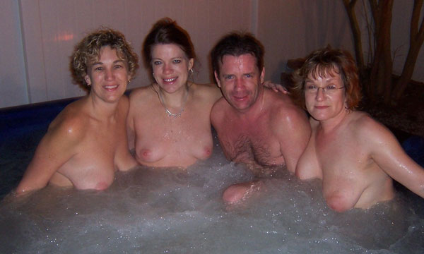 Naked hot tub wife just one